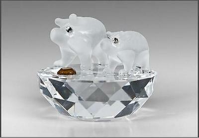Crystal Figurine,Ornament,Two Frosted Miniature Pigs,Cute Collectable,Gift Boxed