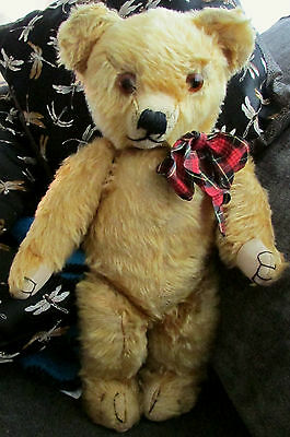 """Antique 18"""" Merrythought  English mohair teddy bear with 1930's foot label"""