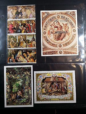 Lot of 15 Christmas MNH stamps: Aitutaki, Antiqua, Lesotho & Dominica
