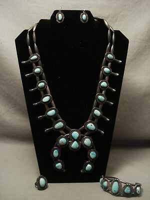 Opulent Early 1900's Vintage Navajo Turquoise Silver Squash Blossom Necklace Set