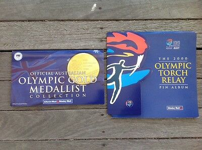 2000 Olympic Pin Albums- Torch Relay and Medallists.