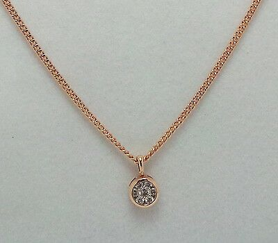 9Ct Rose Gold Long Curb Chain And Diamond Pendant- Valued @$1240 With Valuation