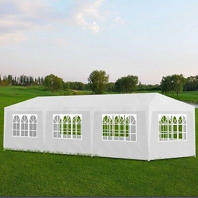 Gazebo 3x9m White Party Tent Marquee Folding Up Canopy Outdoor Wedding Event