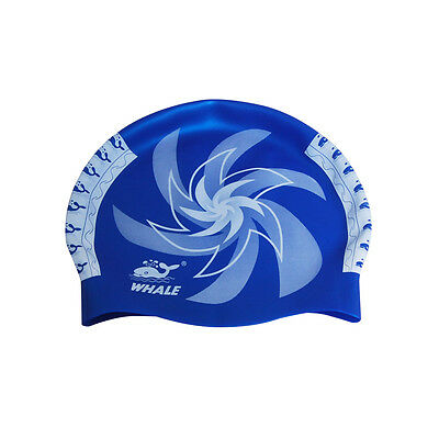 Unisex Adult Silicone Stretch Blue Swimming Hat Waterproof Swim Cap Flexible NEW