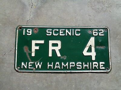 New Hampshire 1962 license plate   #   FR   4