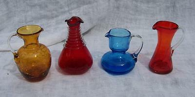 Lot Of 4 Pilgrim Glass Crackle Glass Small Pitchers Multi Colored W/ Pontiles