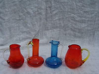 Lot Of 3 Pilgrim Glass Crackle Glass & 1 Small Blenko Pitchers  W/ Pontiles