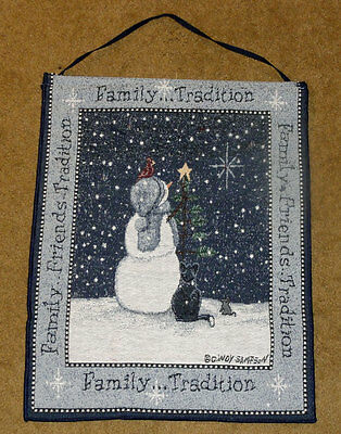 Family Tradition Snowman/Cat/Cardinal Tapestry Bannerette Wall Hanging w/Lights