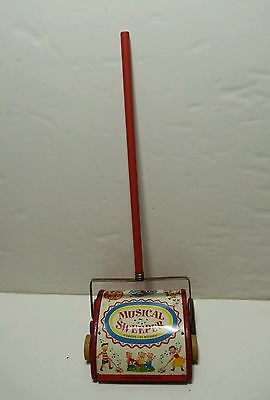 Fisher Price #230 Music Box Sweeper Walking Vintage Wood Metal Push Toy RARE!