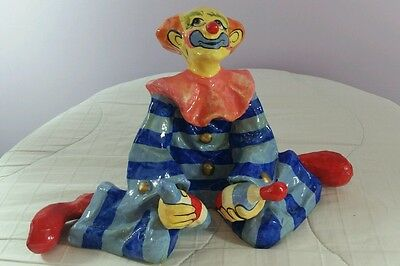 Vintage Paper Mache Clown Handmade in Mexico