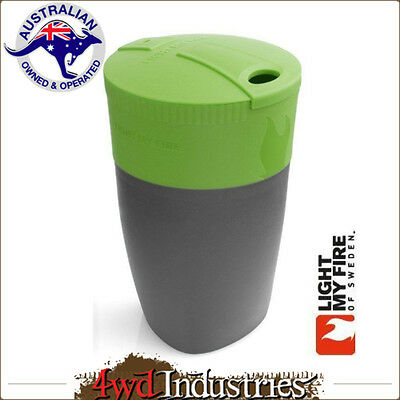 LIGHT MY FIRE Pack-up-Cup Drink Carry Container Liquid Holder Collapsible GREEN