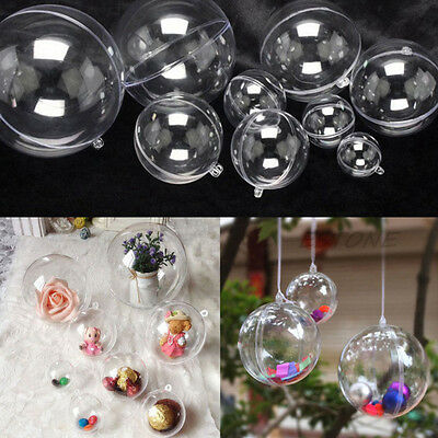 Wedding Party Home Decor DIY Ornament Clear Plastic Open Bauble Ball Gift 10pcs