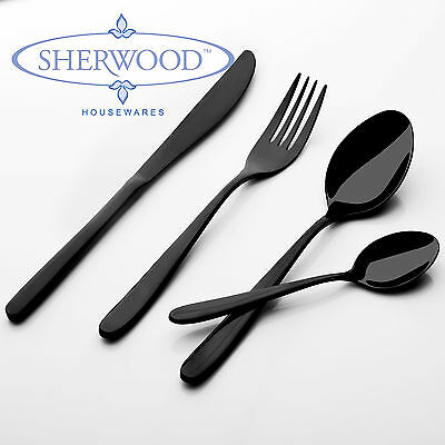 New 24 Piece Sherwood Black Titanium Alloy Premium Cutlery Set Gift Box