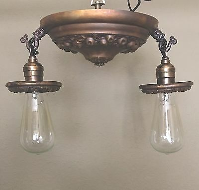 Vintage Antique Flush Mount Light Fixture Two Lights Two Socket Cluster Wired