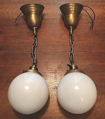 "18"" Long Brass Pendant Light With Beautiful Milk White Glass Globe Wired Hubbell"