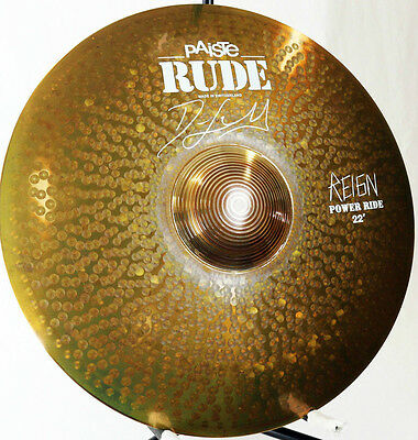 """Paiste 22"""" RUDE 'REIGN' Power Ride Cymbal SIGNED BY DAVE LOMBARDO (SLAYER)"""