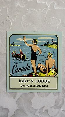 Vintage Travel Decal Iggy's Lodge On Robertson Lake Canada
