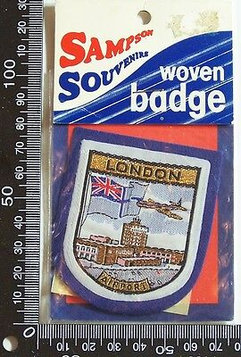 Vintage London Airport Embroidered Souvenir Patch Woven Cloth Sew-On Badge