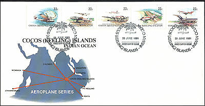 FDC, 1981, plane stamps, map cachet