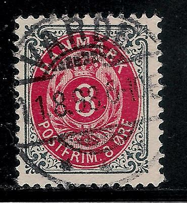 DENMARK 1874  Very Old Stamp With Nice Postmark - Number of Value 8 Ore