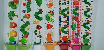 VERY HUNGRY CATERPILLAR Handmade Dummy Clips  / Pacifier Clips / Chain