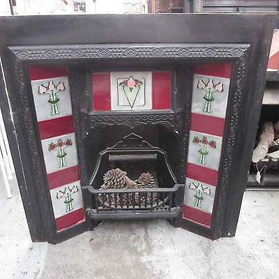 Fireplace Inner – Stunning Cast Iron Inner With Floral Tiles, Md5