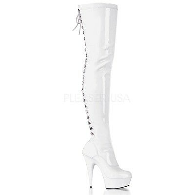 Pleaser DELIGHT-3063 White Stretch Patent/White Thigh Boot