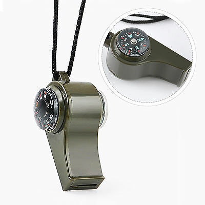 Camping Hiking Emergency Survival Kit Whistle Thermometer Outdoor Compass 3 in 1