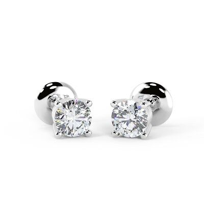 Platinum Diamond RRP £2000 - D/VS 0.40Ct Round Diamond Stud Earrings in Platinum
