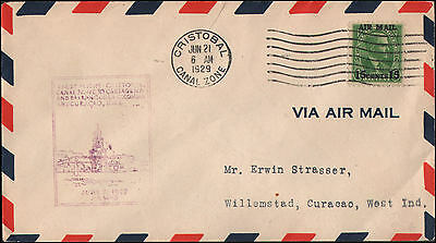 Canal Zone #C1 Cristobal CZ to Willemstad, Curacao, West Indies, 1929