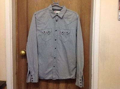 Levi red tab snap button grey heavy cotton shirt