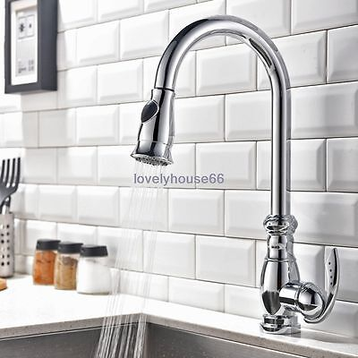 Modern Solid Brass Pull Down Shower Single Handle Hole Kitchen Sink Mixer Faucet