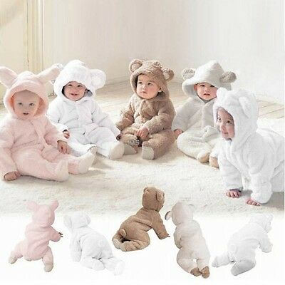 New Fashion Baby Girls Boys Animal Hooded Coat Long Sleeve Solid Romper Winter