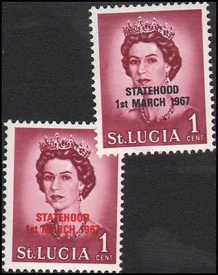 St. Lucia MNH perhaps #214, red and black overprint
