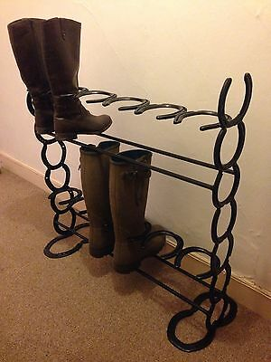 Horse Shoe 6 Pair Two Tier Boot Welly Rack Stand Christmas Present