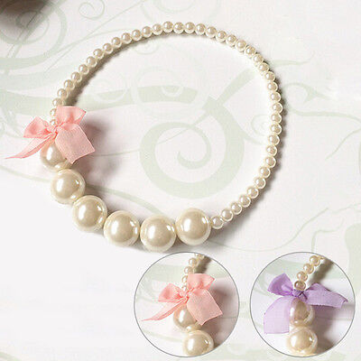 Princess Girls Imitation Pearls Necklace Children Party Jewelry For Baby Toddler