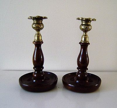candle sticks oak wood Brass Sconces art deco shabby chic pair 20.0 cm tall (N3)