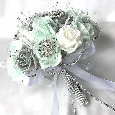 Brides Posy Bouquet, Mint Green, White & Grey Roses,  Artificial Wedding Flowers