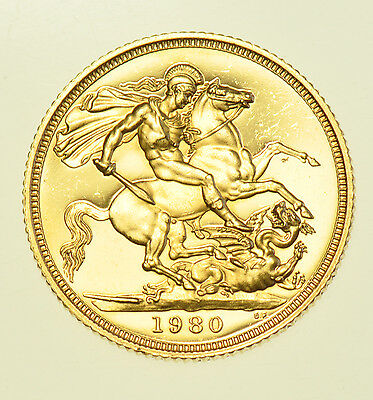 1980 PROOF SOVEREIGN, BRITISH GOLD COIN FROM ELIZABETH II aFDC