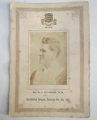 Old 'West Middlesex Lodge No.1612' Installation Banquet Toast List 1897