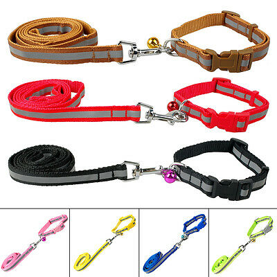 Safery Reflective Dog Collar and Lead Set Pet Leash & Bell for Small Medium Dogs