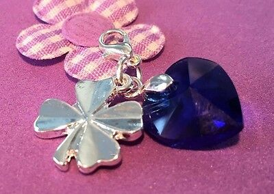 Something Blue Crystal Heart and Four Leaf Clover Charm / Good Luck Charm