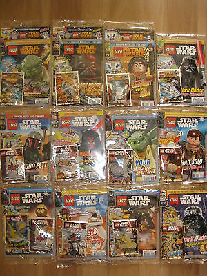 "LOT  19 MAGZINES LEGO "" STARS WARS "" SOUS BLISTER N°1 a 17 FRANCAIS + 2 HORSERIE"