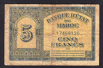 Morocco 5 Francs 1943  Very Poor P.24,   Banknotes, Circulated