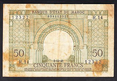Morocco 50 Francs 1949  Very Poor P.44,   Banknotes, Circulated