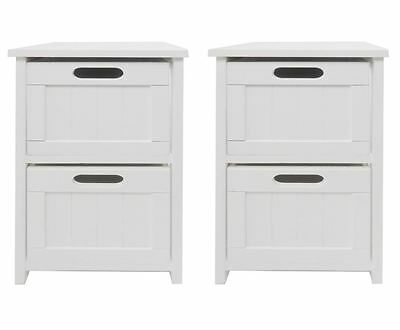 Assembled Set Pair of 2 White Chest of Drawer Hallway Kids Bedside Table Cabinet