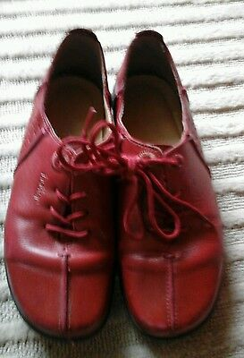 HOTTER shoes. Size 6. Deep red. Leather. Comfort. Lace-up