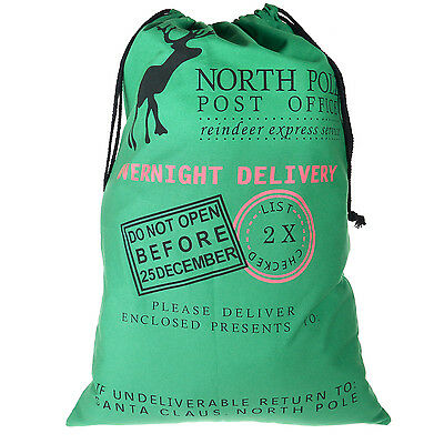 TRIXES Large Green Christmas Santa Reindeer Express Post Office String Sack
