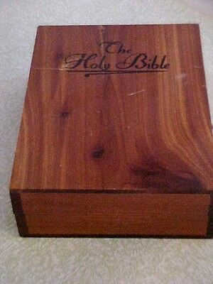Vintage Cedar Holy Bible Box Showing Jesus With Open Arms On Inside Lid