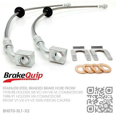 BRAIDED FRONT BRAKE HOSES [HOLDEN VH COMMODORE with VT-VX-VY-VZ CALIPERS] SILVER